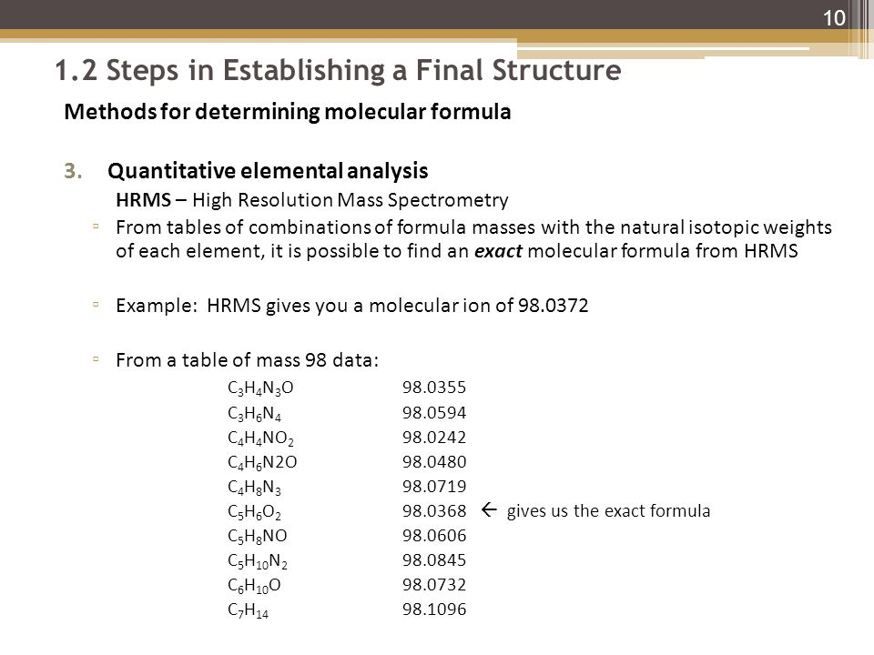 1.2 Steps in Establishing a Final Structure Methods for determining molecular formula 3.Quantitative elemental analysis HRMS – High Resolution Mass Spectrometry ▫ From tables of combinations of formula masses with the natural isotopic weights of each element, it is possible to find an exact molecular formula from HRMS ▫ Example: HRMS gives you a molecular ion of 98.0372 ▫ From a table of mass 98 data: C 3 H 4 N 3 O98.0355 C 3 H 6 N 4 98.0594 C 4 H 4 NO 2 98.0242 C 4 H 6 N2O98.0480 C 4 H 8 N 3 98.0719 C 5 H 6 O 2 98.0368  gives us the exact formula C 5 H 8 NO98.0606 C 5 H 10 N 2 98.0845 C 6 H 10 O98.0732 C 7 H 14 98.1096 10