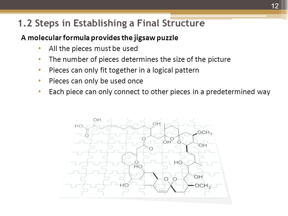 1.2 Steps in Establishing a Final Structure A molecular formula provides the jigsaw puzzle All the pieces must be used The number of pieces determines the size of the picture Pieces can only fit together in a logical pattern Pieces can only be used once Each piece can only connect to other pieces in a predetermined way 12