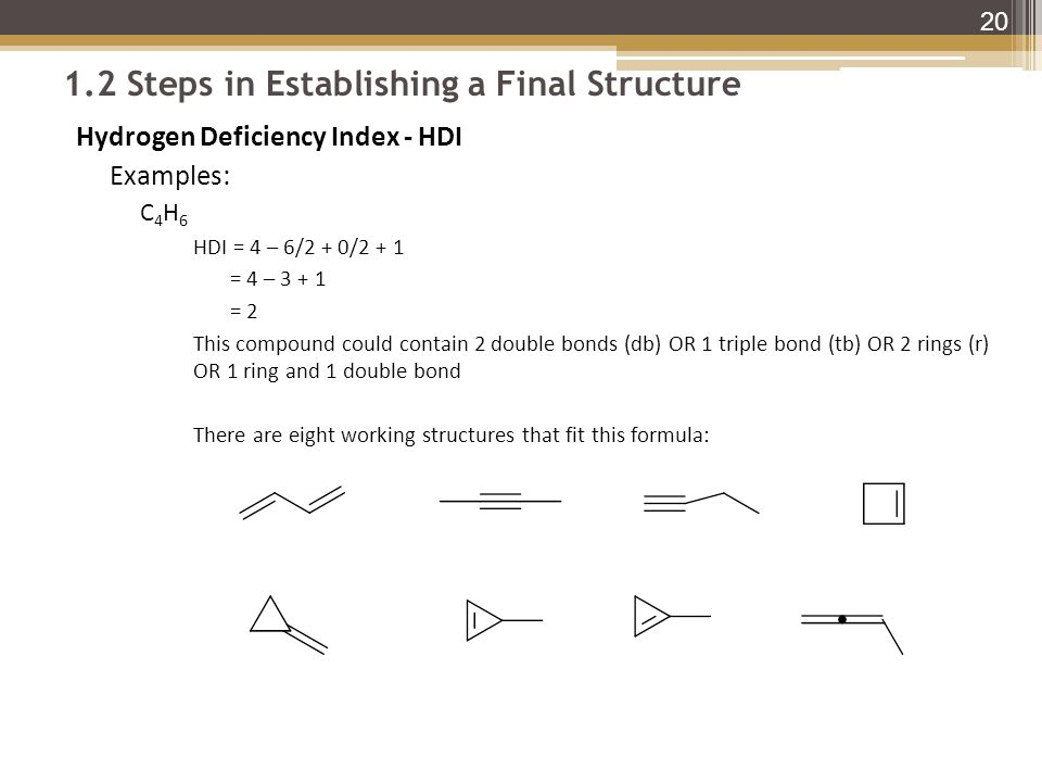 1.2 Steps in Establishing a Final Structure Hydrogen Deficiency Index - HDI Examples: C 4 H 6 HDI = 4 – 6/2 + 0/2 + 1 = 4 – 3 + 1 = 2 This compound could contain 2 double bonds (db) OR 1 triple bond (tb) OR 2 rings (r) OR 1 ring and 1 double bond There are eight working structures that fit this formula: 20