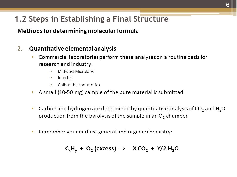1.2 Steps in Establishing a Final Structure Methods for determining molecular formula 2.Quantitative elemental analysis Commercial laboratories perform these analyses on a routine basis for research and industry: Midwest Microlabs Intertek Galbraith Laboratories A small (10-50 mg) sample of the pure material is submitted Carbon and hydrogen are determined by quantitative analysis of CO 2 and H 2 O production from the pyrolysis of the sample in an O 2 chamber Remember your earliest general and organic chemistry: C x H y + O 2 (excess)  X CO 2 + Y/2 H 2 O 6