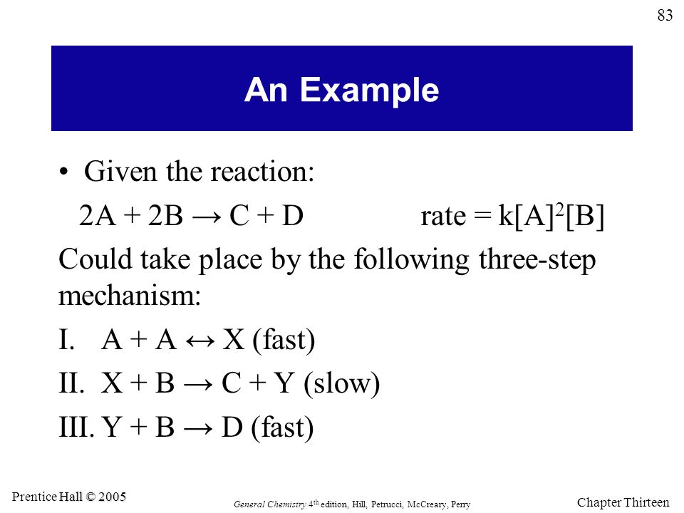 83 General Chemistry 4 th edition, Hill, Petrucci, McCreary, Perry Hall © 2005 Prentice Hall © 2005 Chapter Thirteen An Example Given the reaction: 2A