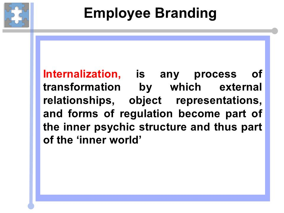 Employee Branding Internalization, is any process of transformation by which external relationships, object representations, and forms of regulation b