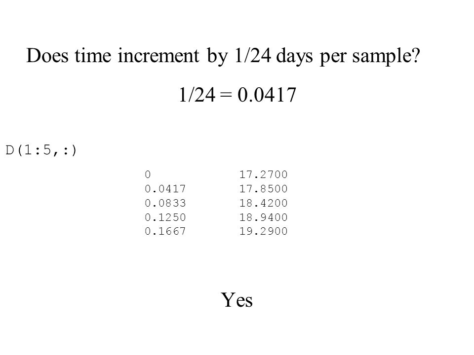 Does time increment by 1/24 days per sample.
