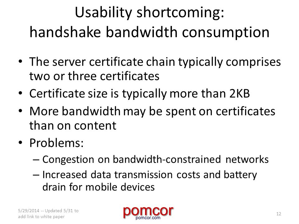 Usability shortcoming: handshake bandwidth consumption The server certificate chain typically comprises two or three certificates Certificate size is typically more than 2KB More bandwidth may be spent on certificates than on content Problems: – Congestion on bandwidth-constrained networks – Increased data transmission costs and battery drain for mobile devices 5/29/2014 -- Updated 5/31 to add link to white paper 12