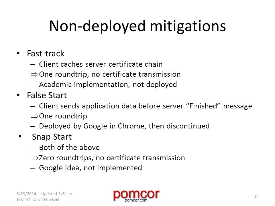 Non-deployed mitigations Fast-track – Client caches server certificate chain  One roundtrip, no certificate transmission – Academic implementation, not deployed False Start – Client sends application data before server Finished message  One roundtrip – Deployed by Google in Chrome, then discontinued Snap Start – Both of the above  Zero roundtrips, no certificate transmission – Google idea, not implemented 5/29/2014 -- Updated 5/31 to add link to white paper 14