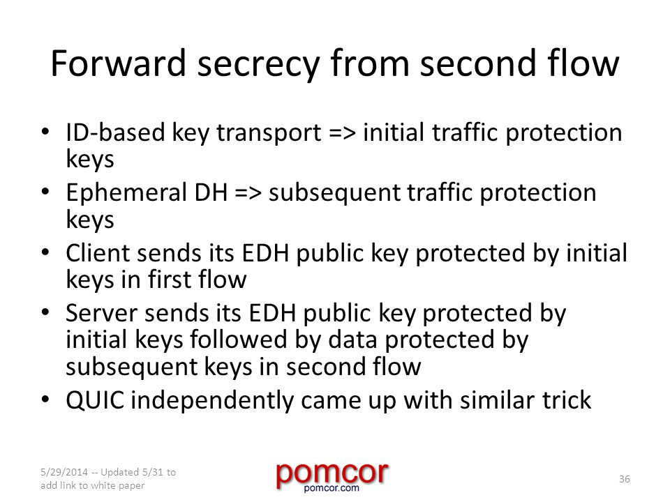 Forward secrecy from second flow ID-based key transport => initial traffic protection keys Ephemeral DH => subsequent traffic protection keys Client sends its EDH public key protected by initial keys in first flow Server sends its EDH public key protected by initial keys followed by data protected by subsequent keys in second flow QUIC independently came up with similar trick 5/29/2014 -- Updated 5/31 to add link to white paper 36