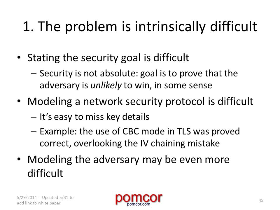 1. The problem is intrinsically difficult Stating the security goal is difficult – Security is not absolute: goal is to prove that the adversary is un