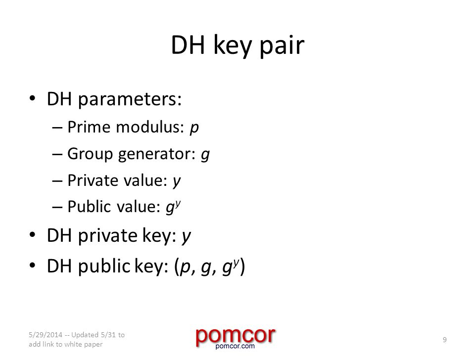 DH key pair DH parameters: – Prime modulus: p – Group generator: g – Private value: y – Public value: g y DH private key: y DH public key: (p, g, g y ) 5/29/2014 -- Updated 5/31 to add link to white paper 9