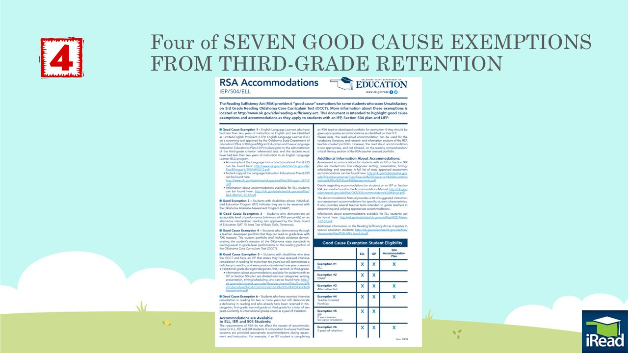 Four of SEVEN GOOD CAUSE EXEMPTIONS FROM THIRD-GRADE RETENTION