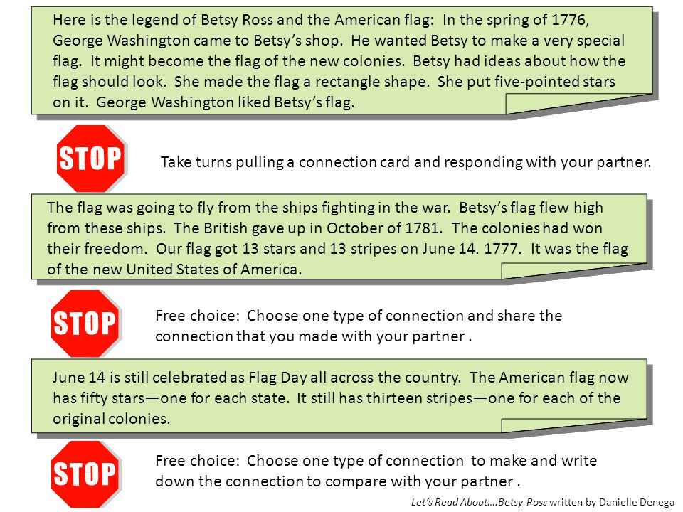 Here is the legend of Betsy Ross and the American flag: In the spring of 1776, George Washington came to Betsy's shop. He wanted Betsy to make a very