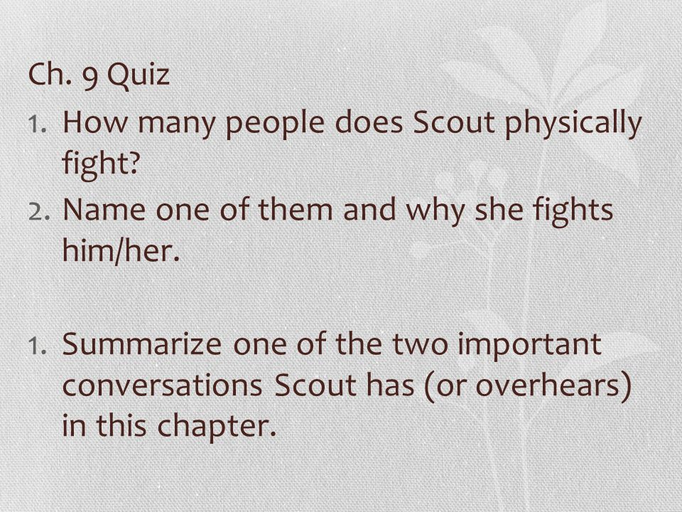 1.How many people does Scout physically fight. 2.Name one of them and why she fights him/her.