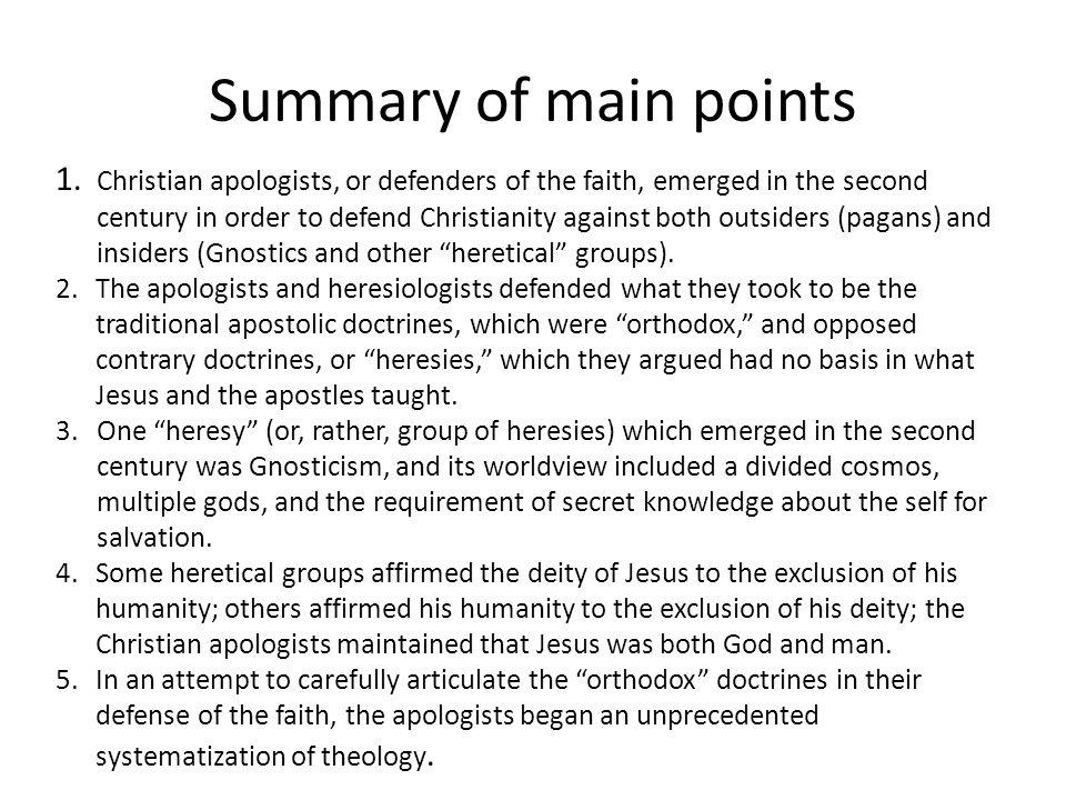 Summary of main points 1.