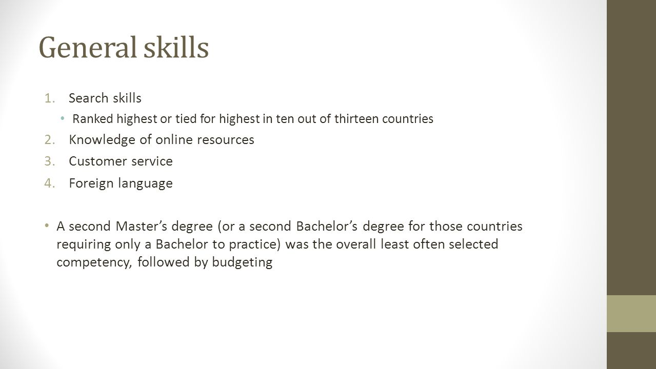 General skills 1.Search skills Ranked highest or tied for highest in ten out of thirteen countries 2.Knowledge of online resources 3.Customer service 4.Foreign language A second Master's degree (or a second Bachelor's degree for those countries requiring only a Bachelor to practice) was the overall least often selected competency, followed by budgeting