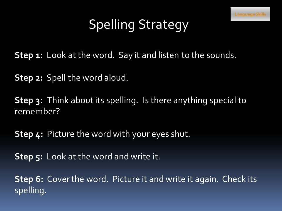 Spelling Strategy Step 1: Look at the word. Say it and listen to the sounds.