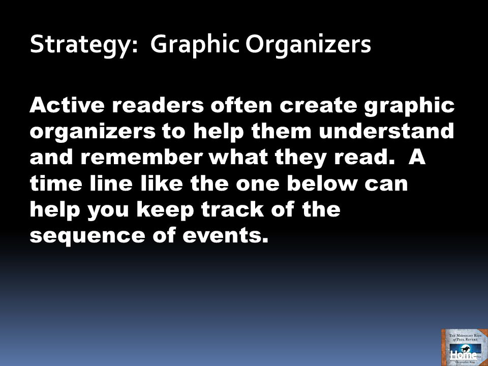 Strategy: Graphic Organizers Active readers often create graphic organizers to help them understand and remember what they read.
