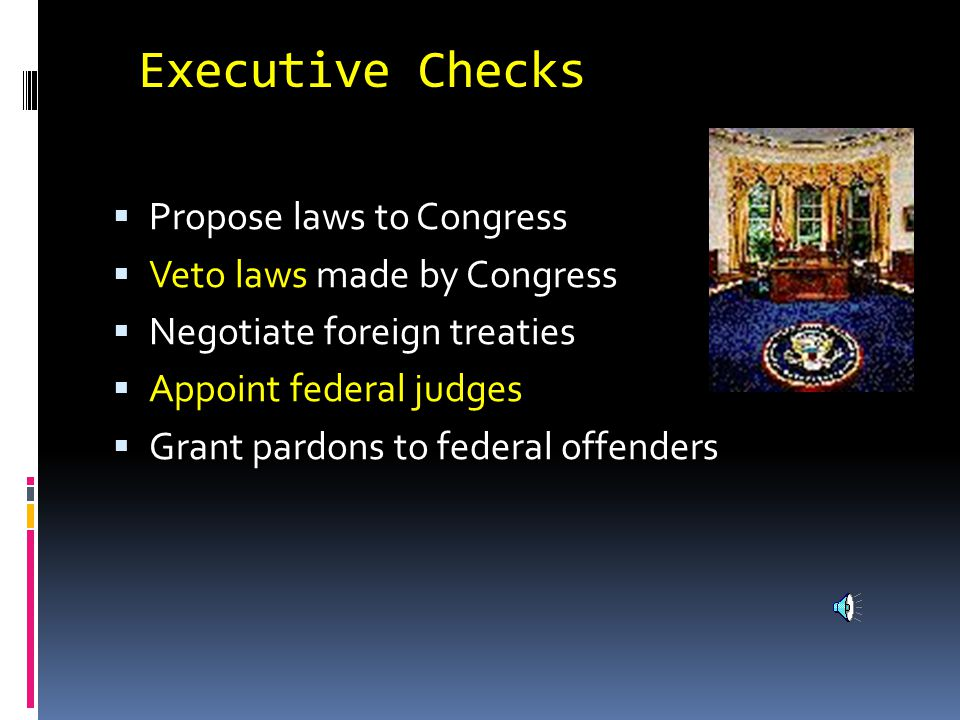 V. Checks and Balances  Prevents the abuse of power in government  Each branch can check each other branch