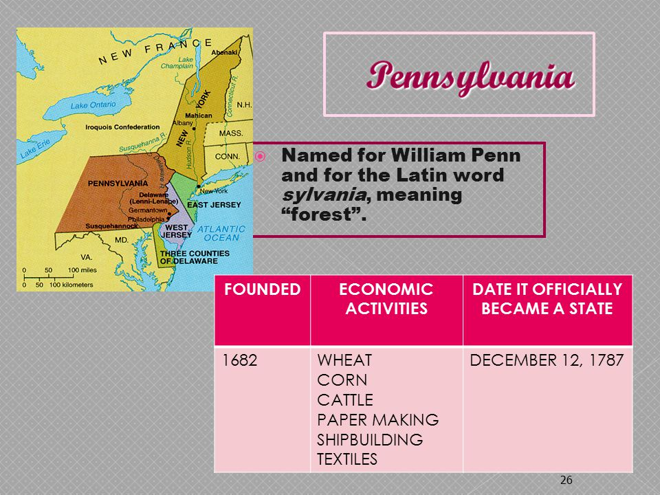  Named for William Penn and for the Latin word sylvania, meaning forest .