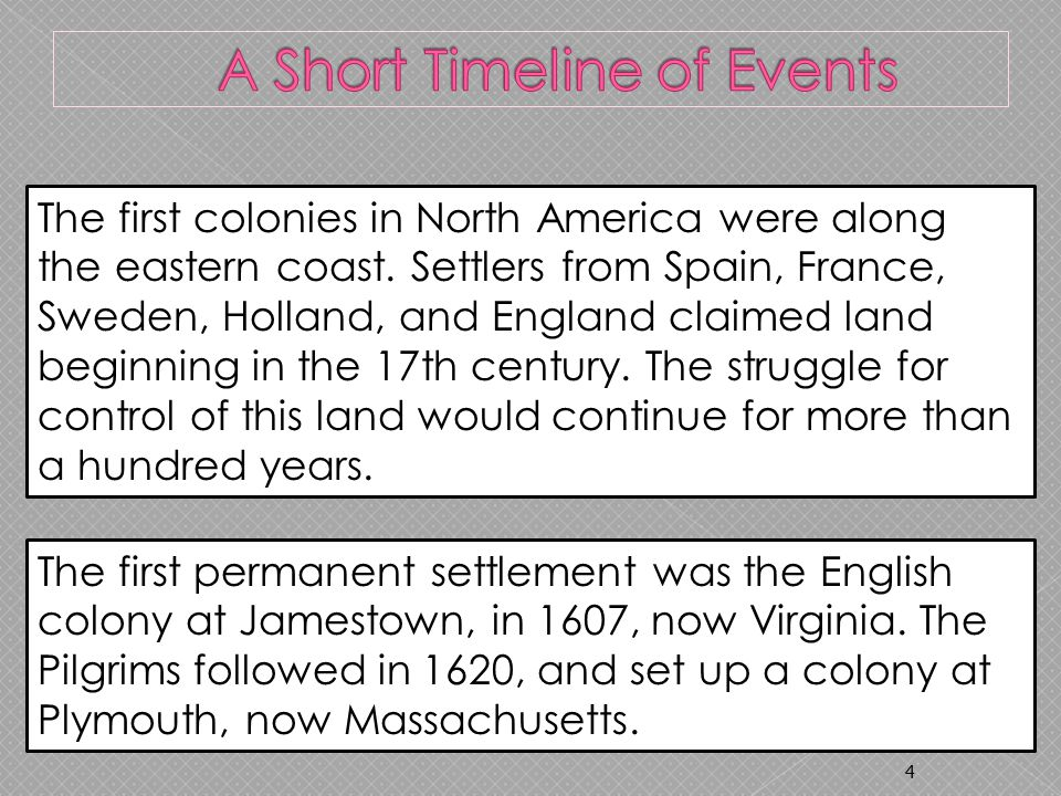 4 The first colonies in North America were along the eastern coast.