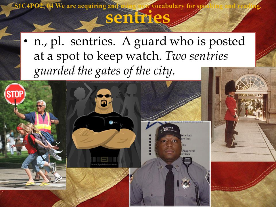 n., pl. sentries. A guard who is posted at a spot to keep watch.