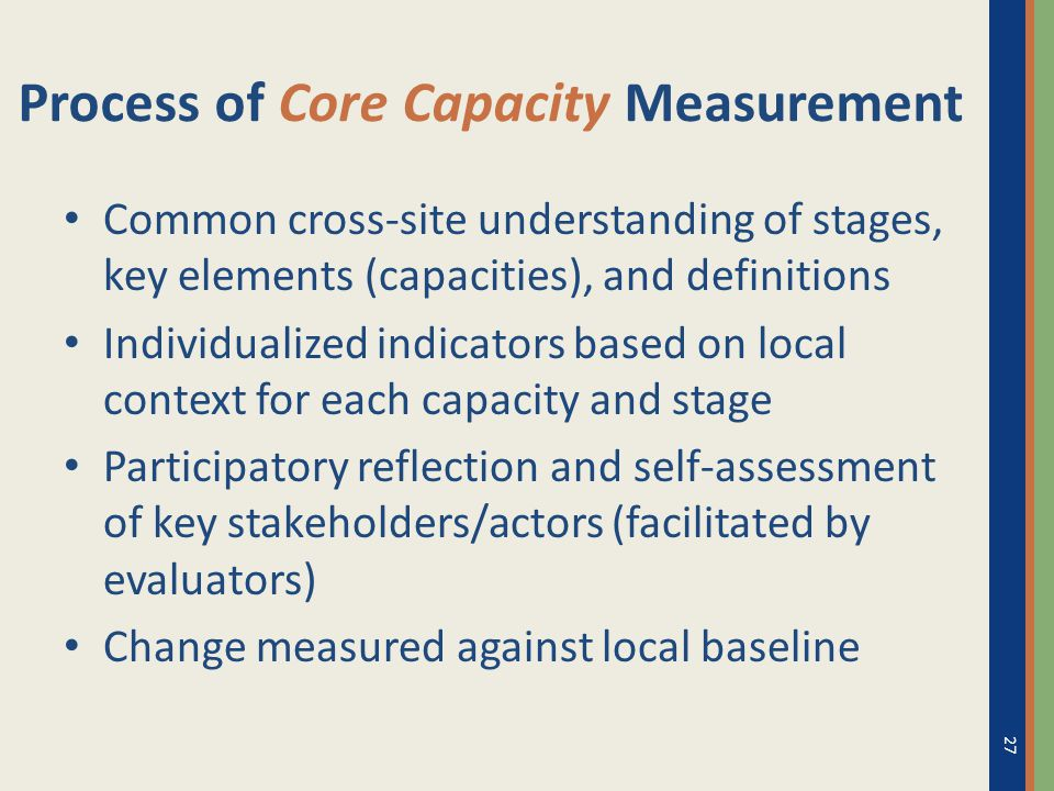 Process of Core Capacity Measurement Common cross-site understanding of stages, key elements (capacities), and definitions Individualized indicators b