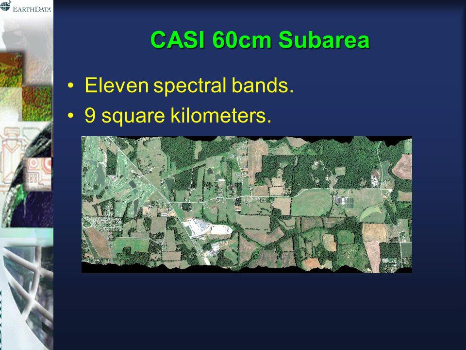 CASI 60cm Subarea Eleven spectral bands. 9 square kilometers.