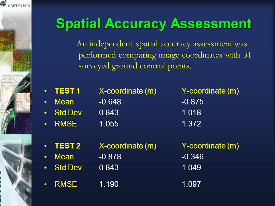 Spatial Accuracy Assessment An independent spatial accuracy assessment was performed comparing image coordinates with 31 surveyed ground control points.