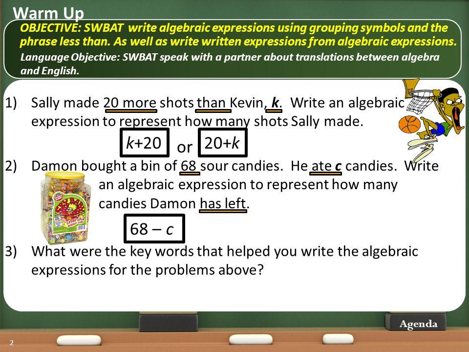 13 Agenda 30 less than x Marvin knows 30 fewer math tricks than his friend.