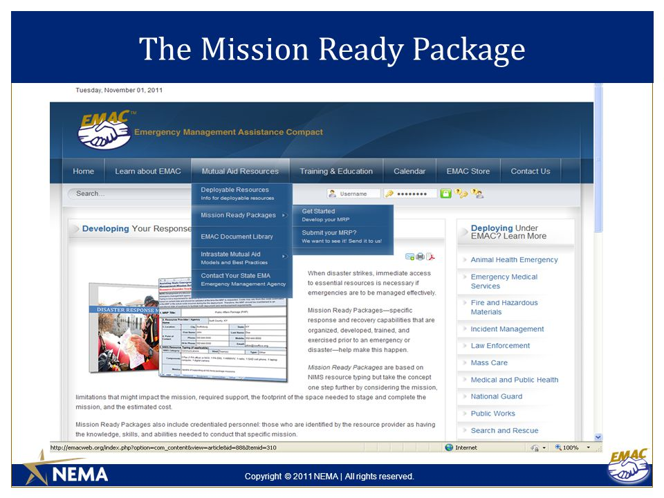 Copyright © 2011 NEMA | All rights reserved. The Mission Ready Package