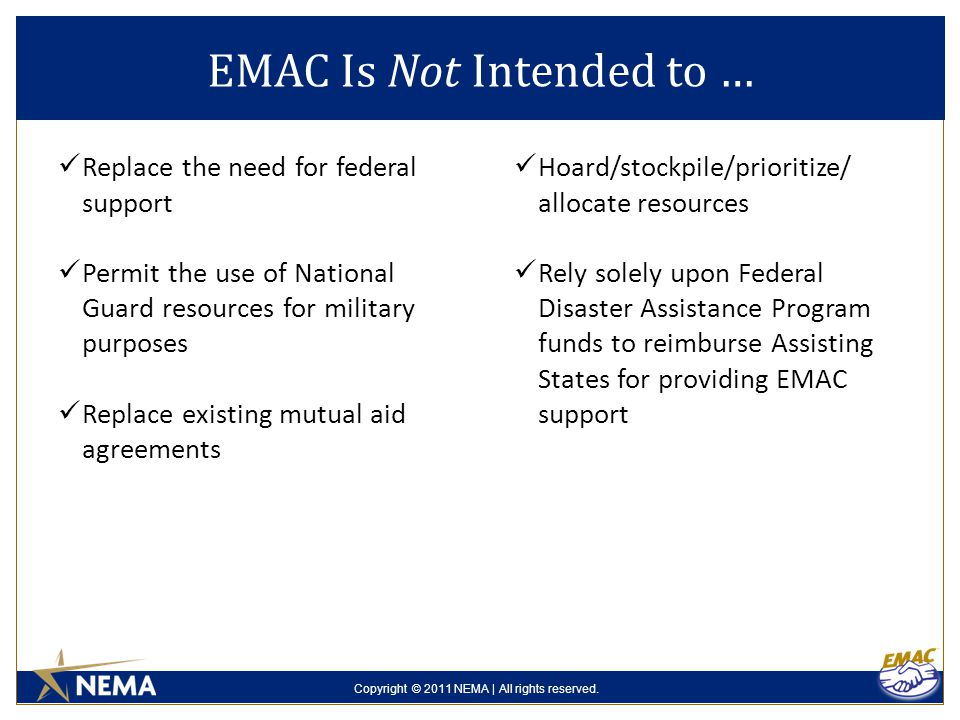 Copyright © 2011 NEMA | All rights reserved. Replace the need for federal support Permit the use of National Guard resources for military purposes Rep