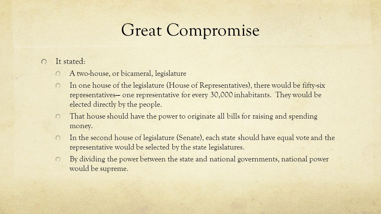 Great Compromise It stated: A two-house, or bicameral, legislature In one house of the legislature (House of Representatives), there would be fifty-si