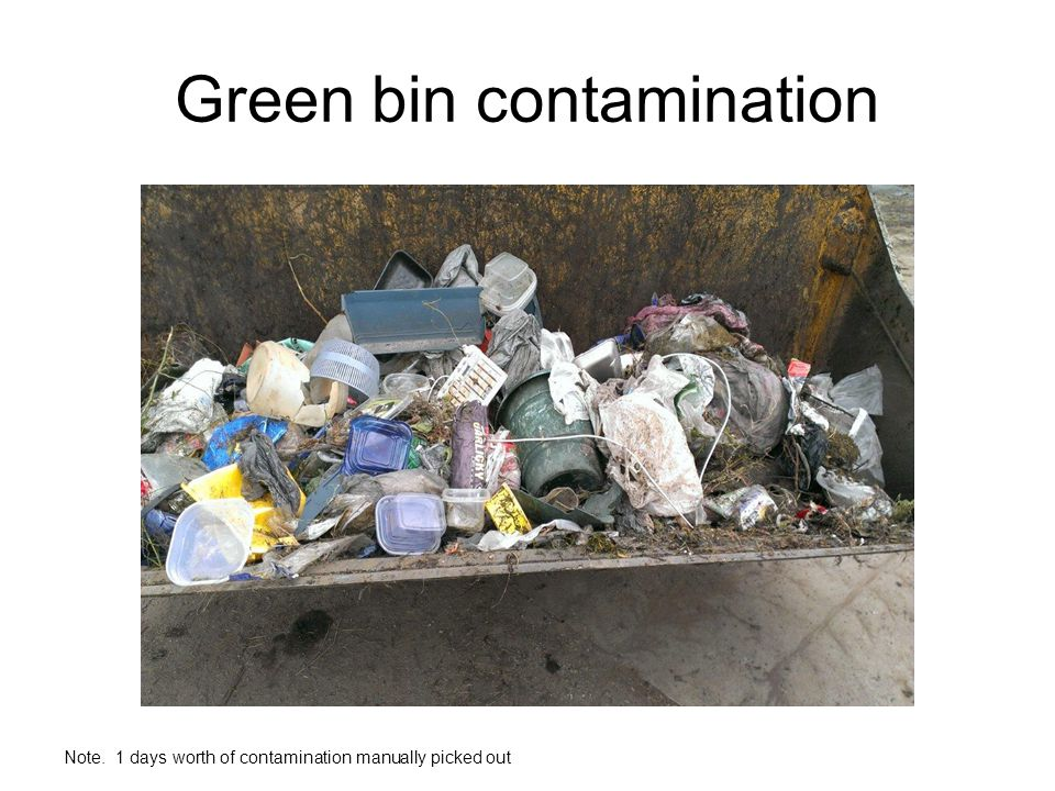 Green bin contamination Note. 1 days worth of contamination manually picked out