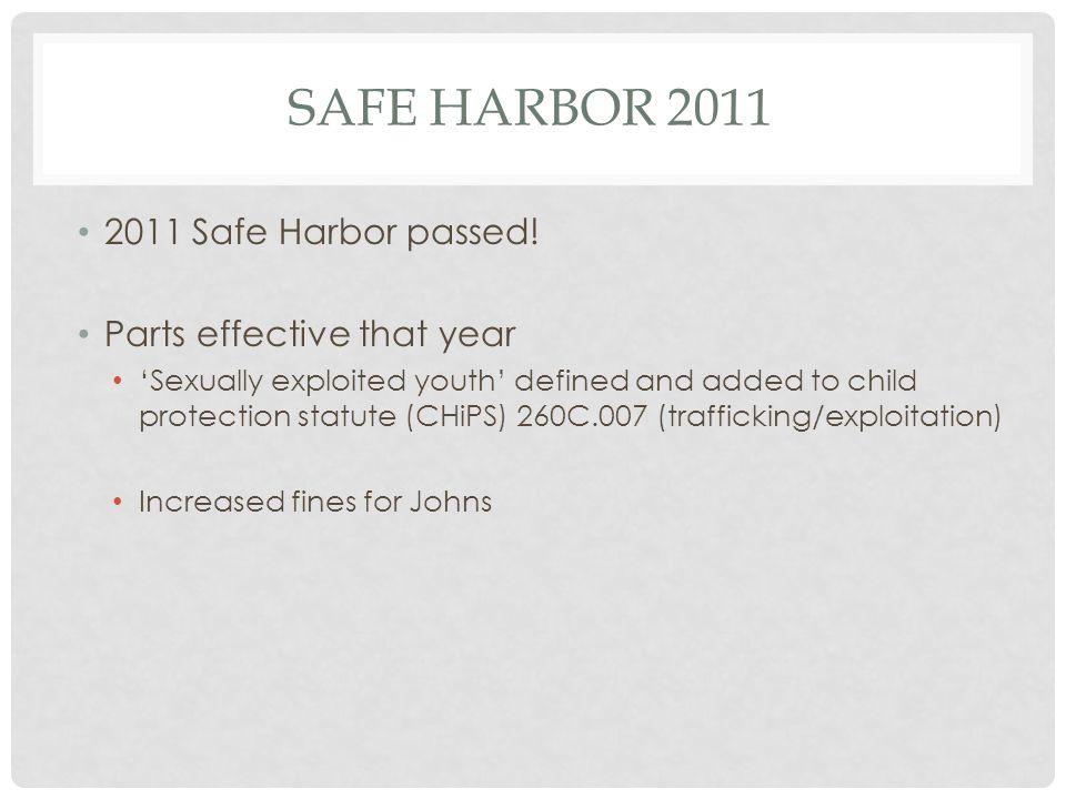 SAFE HARBOR 2011 2011 Safe Harbor passed.