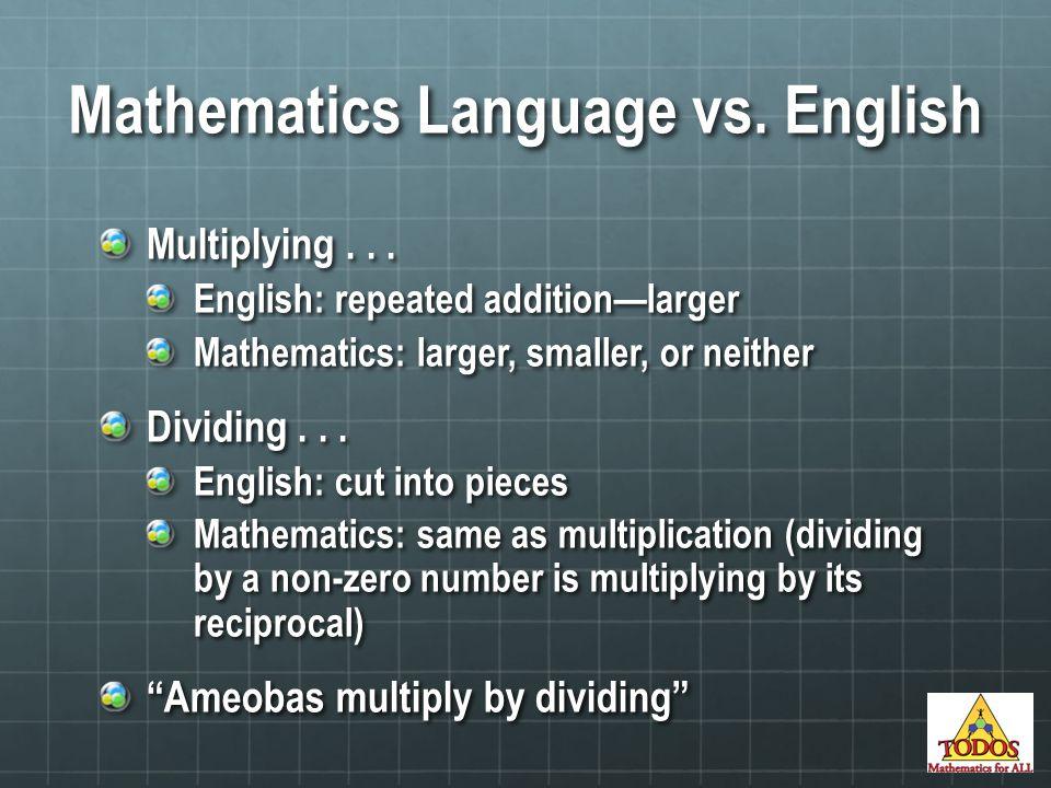Mathematics Language vs.English Multiplying...