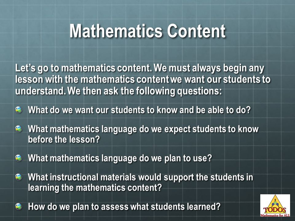 Mathematics Content Let's go to mathematics content.