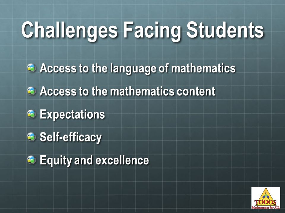 Challenges Facing Students Access to the language of mathematics Access to the mathematics content ExpectationsSelf-efficacy Equity and excellence
