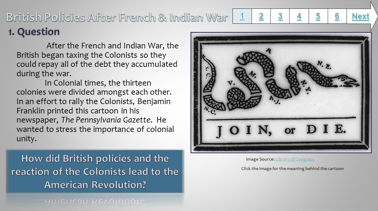 After the French and Indian War, the British began taxing the Colonists so they could repay all of the debt they accumulated during the war.