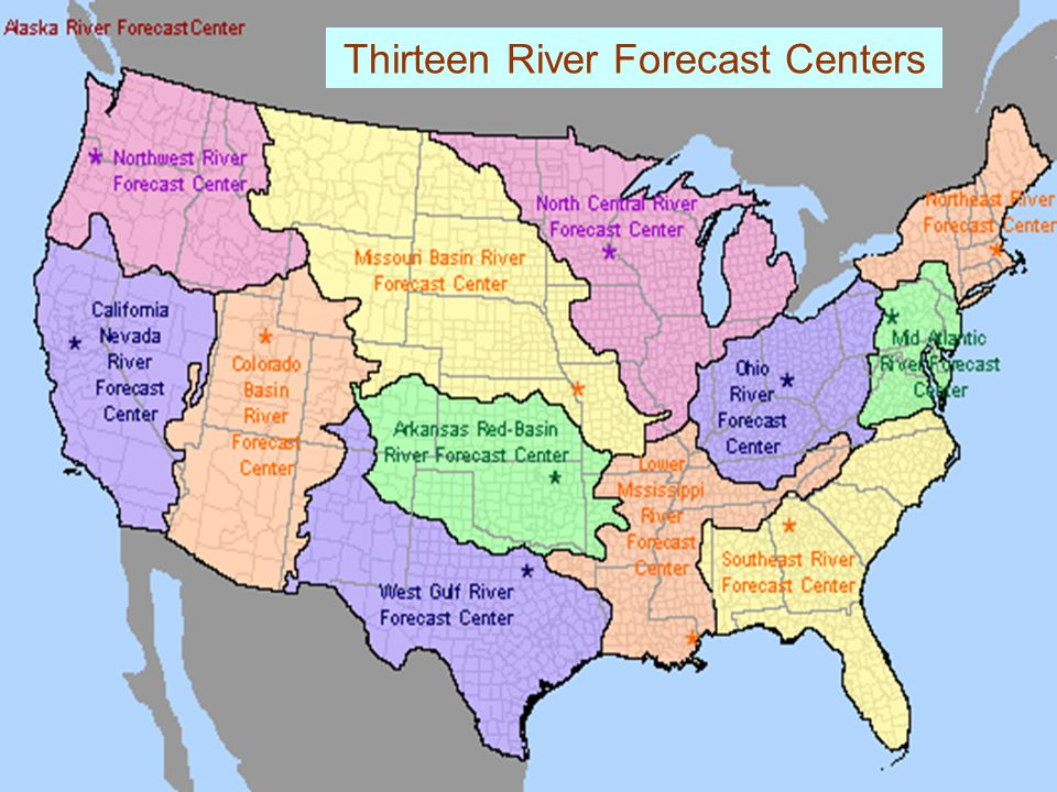 Thirteen River Forecast Centers