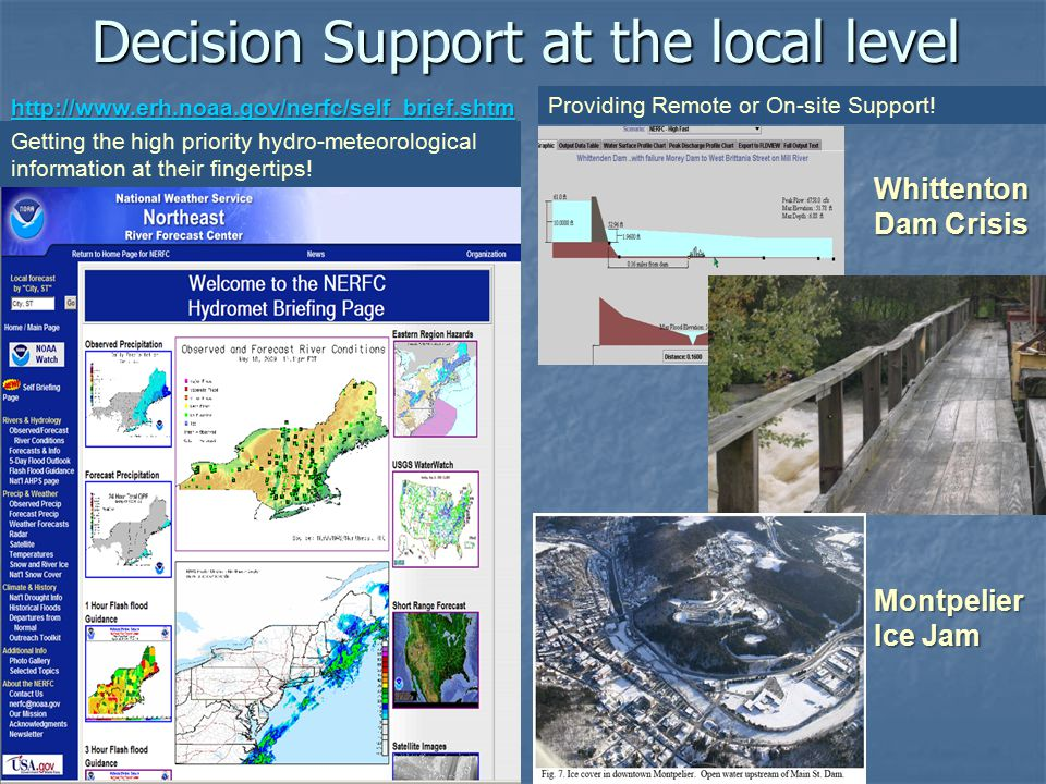 Decision Support at the local level http://www.erh.noaa.gov/nerfc/self_brief.shtm l http://www.erh.noaa.gov/nerfc/self_brief.shtm l Getting the high priority hydro-meteorological information at their fingertips.