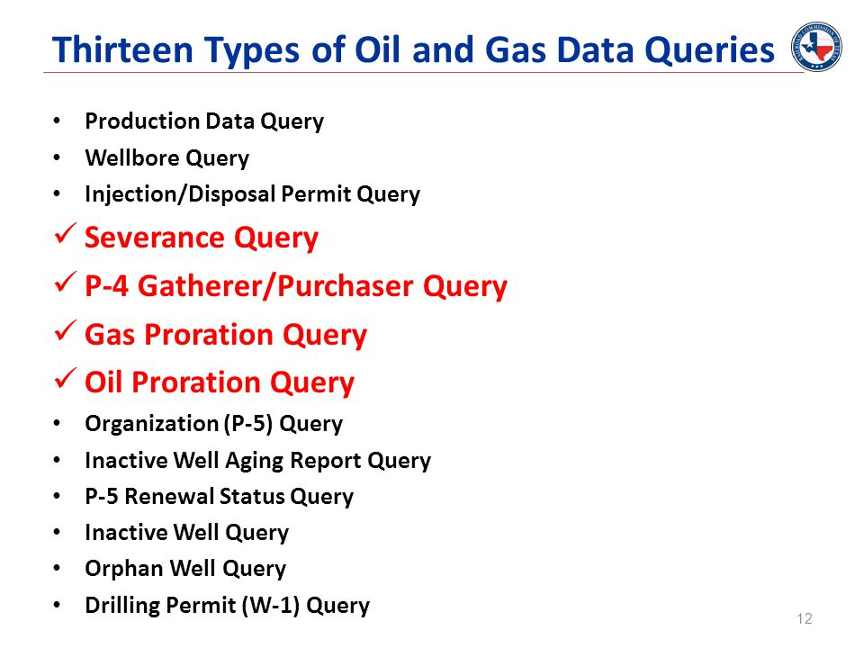Thirteen Types of Oil and Gas Data Queries Production Data Query Wellbore Query Injection/Disposal Permit Query Severance Query P-4 Gatherer/Purchaser Query Gas Proration Query Oil Proration Query Organization (P-5) Query Inactive Well Aging Report Query P-5 Renewal Status Query Inactive Well Query Orphan Well Query Drilling Permit (W-1) Query 12
