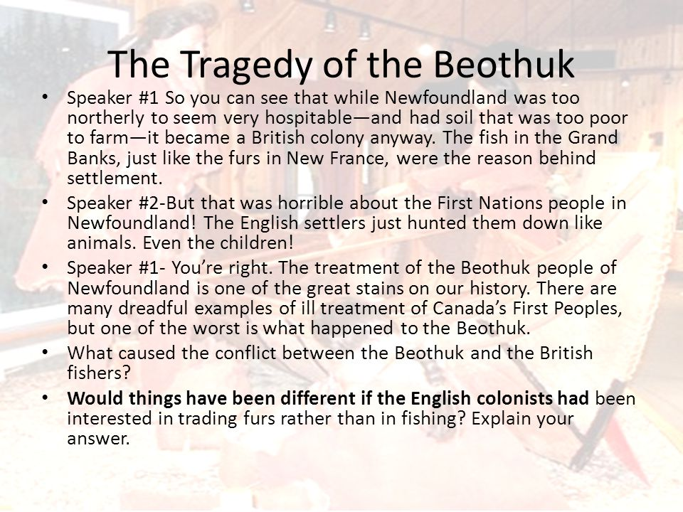 The British fishing villages cut off the Beothuk's access to the sea—access they needed for the food they lived on.
