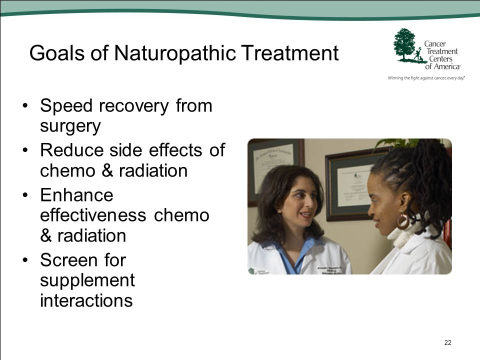 Goals of Naturopathic Treatment Speed recovery from surgery Reduce side effects of chemo & radiation Enhance effectiveness chemo & radiation Screen fo