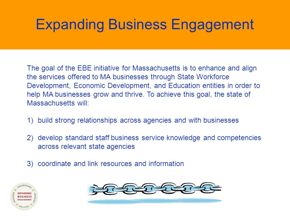 The goal of the EBE initiative for Massachusetts is to enhance and align the services offered to MA businesses through State Workforce Development, Economic Development, and Education entities in order to help MA businesses grow and thrive.