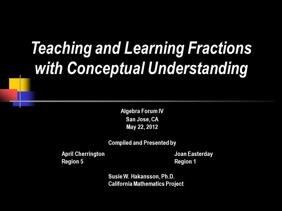 Algebra Forum IV San Jose, CA May 22, 2012 Compiled and Presented by April CherringtonJoan Easterday Region 5Region 1 Susie W.