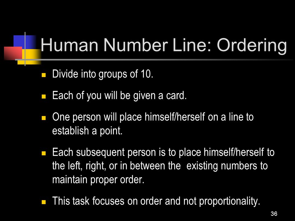 Human Number Line: Ordering Divide into groups of 10.