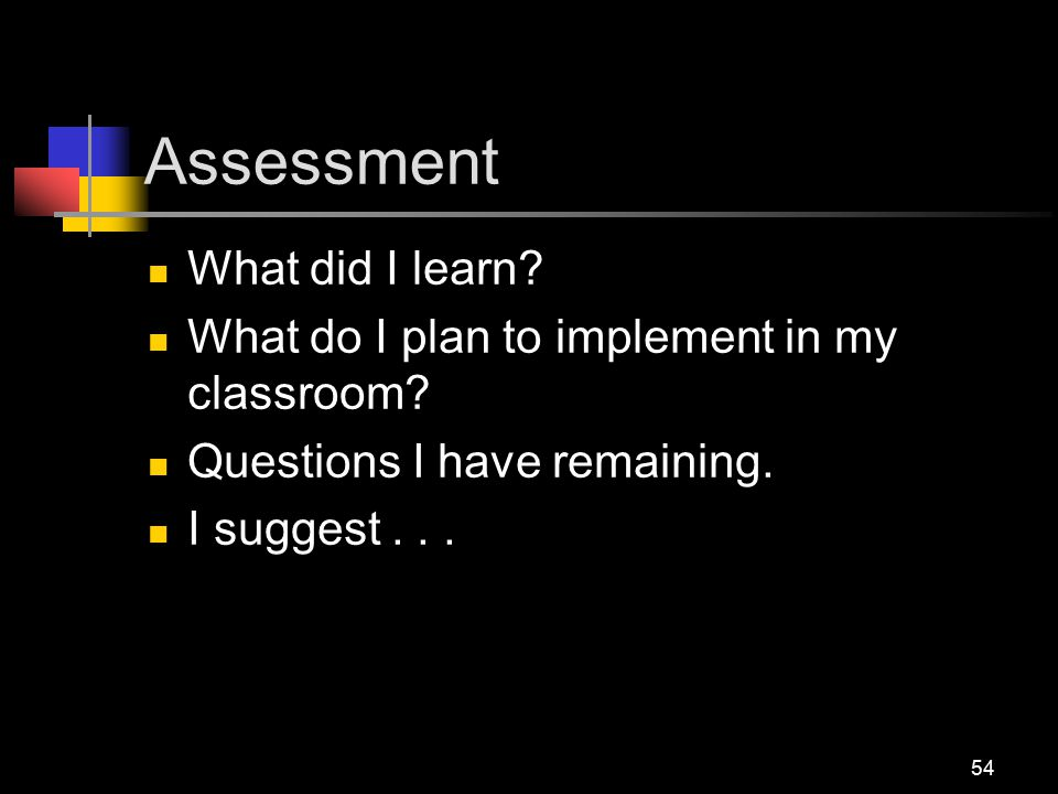 Assessment What did I learn. What do I plan to implement in my classroom.