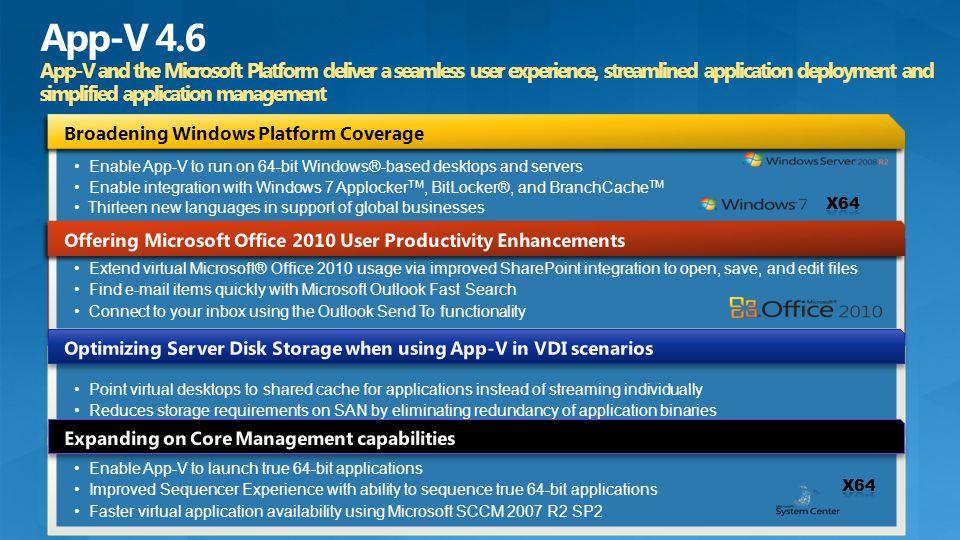 Enable App-V to run on 64-bit Windows®-based desktops and servers Enable integration with Windows 7 Applocker TM, BitLocker®, and BranchCache TM Thirt
