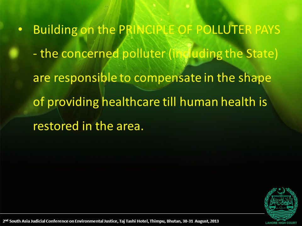 Building on the PRINCIPLE OF POLLUTER PAYS - the concerned polluter (including the State) are responsible to compensate in the shape of providing healthcare till human health is restored in the area.