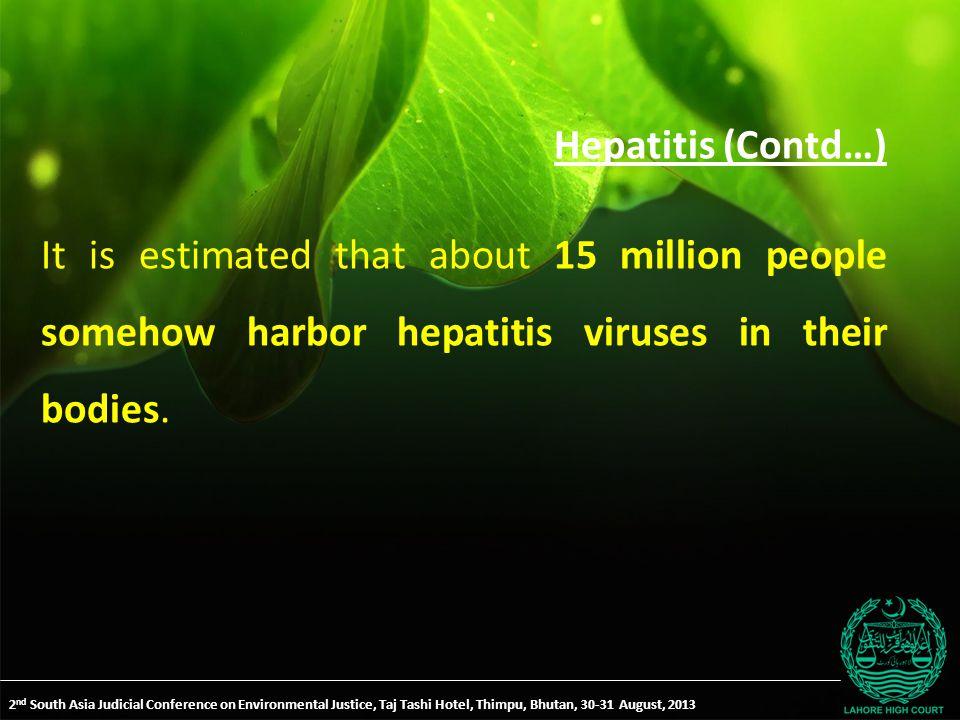Hepatitis (Contd…) It is estimated that about 15 million people somehow harbor hepatitis viruses in their bodies.