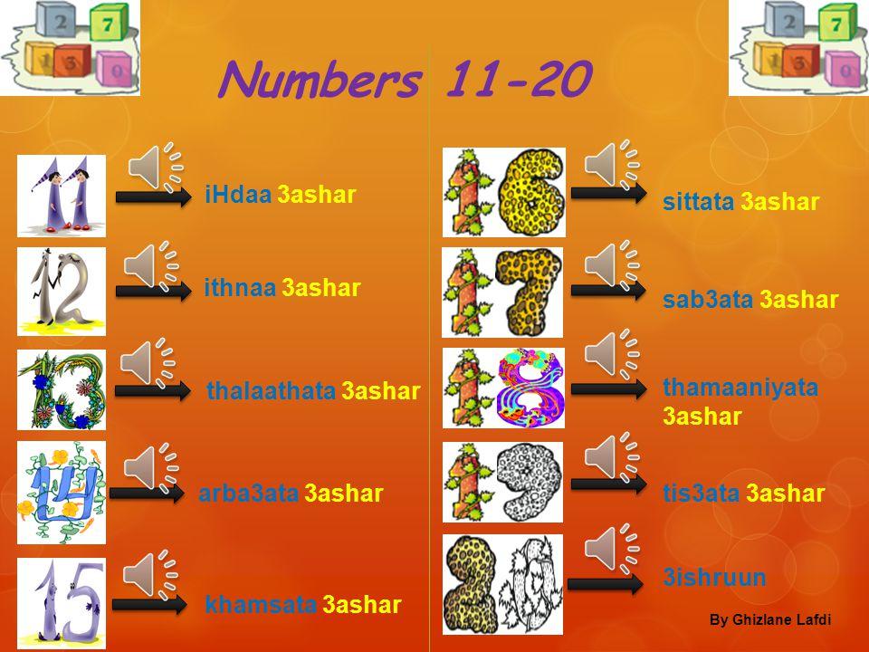 Numbers 1-10 waaHid ithnaan thalaatha arba3a khamsa sitta sab3a thamaaniya tis3a 3ashara By Ghizlane Lafdi