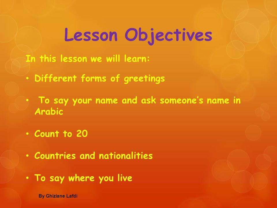 Introducing yourself in Arabic By Ghizlane Lafdi